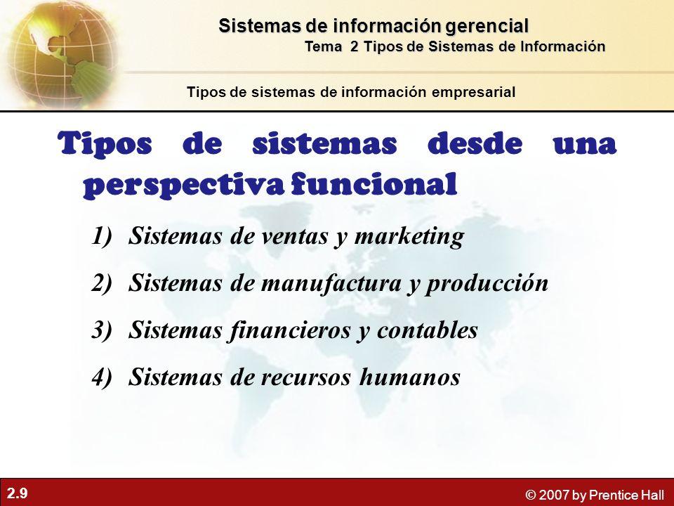 Tipos de sistemas desde una perspectiva funcional