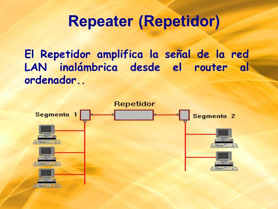 Repeater (Repetidor) El Repetidor amplifica la señal de la red LAN inalámbrica desde el router al ordenador..