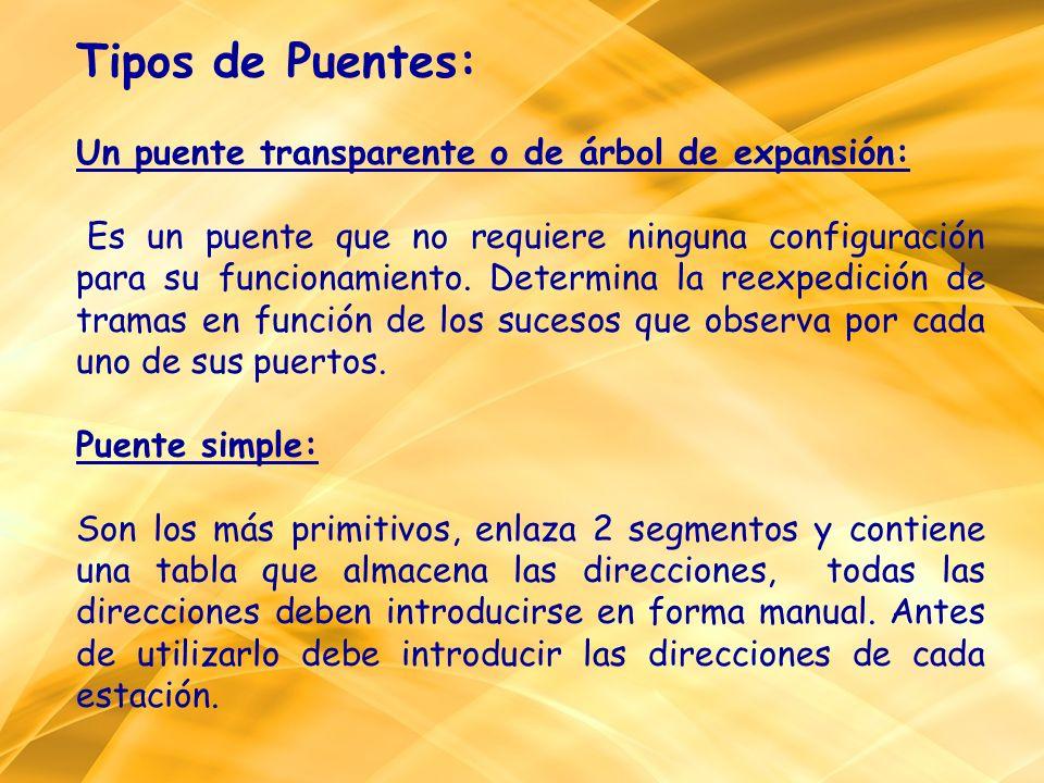 Tipos de Puentes: Un puente transparente o de árbol de expansión: