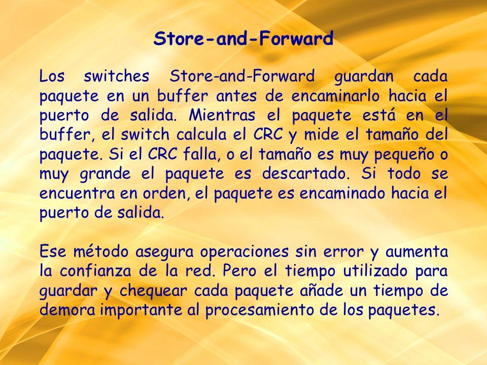 Store-and-Forward Los switches Store-and-Forward guardan cada paquete en un buffer antes de encaminarlo hacia el puerto de salida. Mientras el paquete está en el buffer, el switch calcula el CRC y mide el tamaño del paquete. Si el CRC falla, o el tamaño es muy pequeño o muy grande el paquete es descartado. Si todo se encuentra en orden, el paquete es encaminado hacia el puerto de salida.