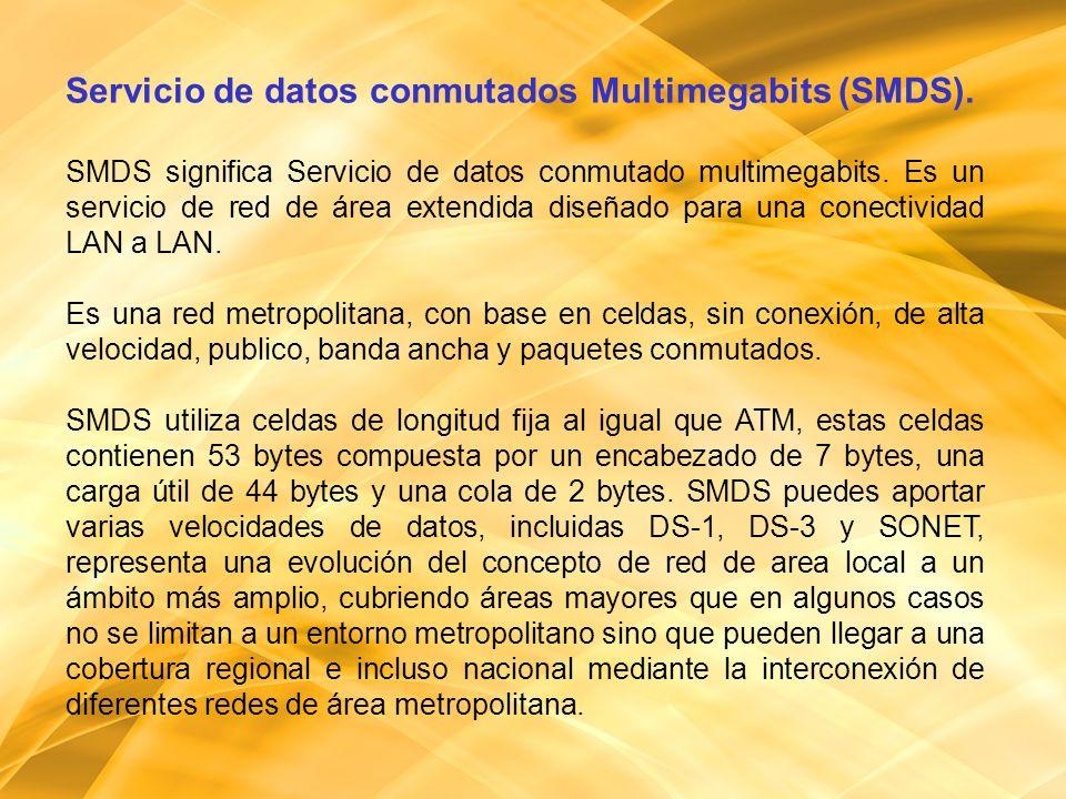 Servicio de datos conmutados Multimegabits (SMDS).