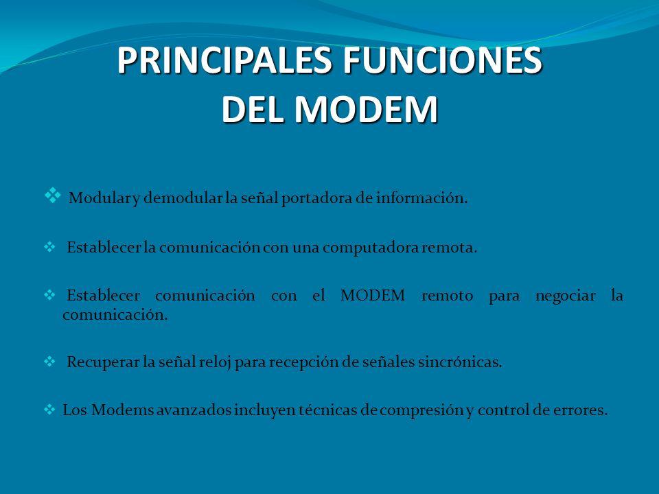 PRINCIPALES FUNCIONES DEL MODEM