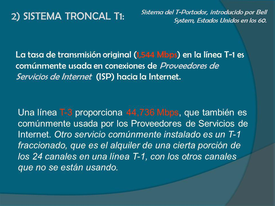 2) SISTEMA TRONCAL T1: Sistema del T-Portador, introducido por Bell System, Estados Unidos en los 60.