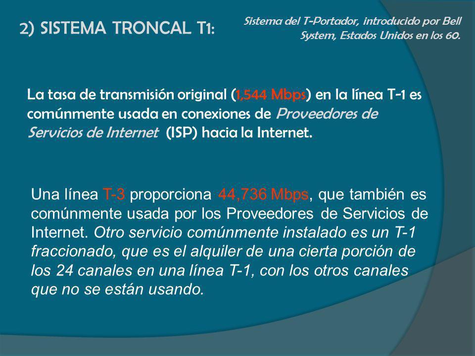 2) SISTEMA TRONCAL T1:Sistema del T-Portador, introducido por Bell System, Estados Unidos en los 60.