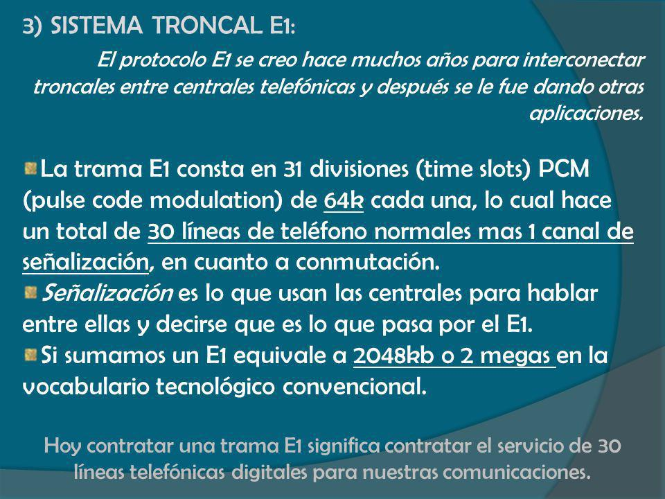 3) SISTEMA TRONCAL E1: