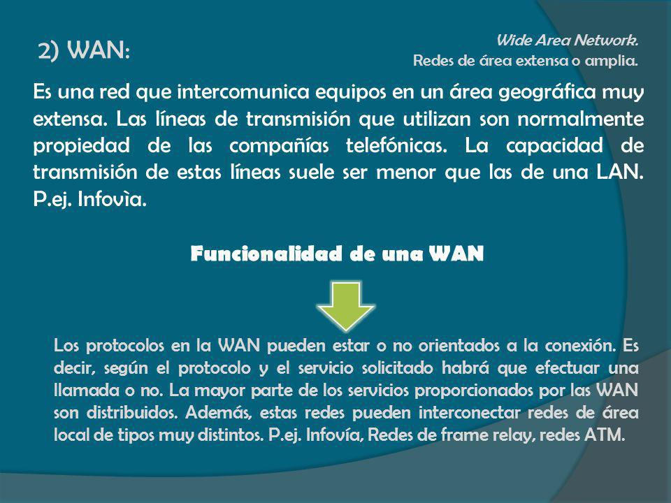 2) WAN: Wide Area Network. Redes de área extensa o amplia.