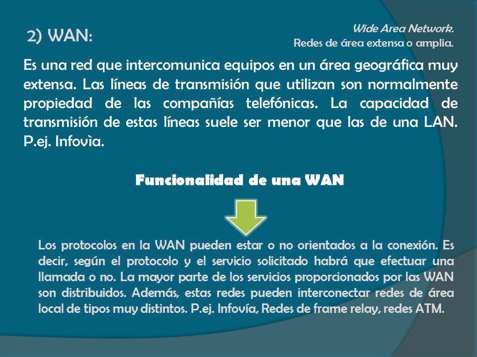 2) WAN:Wide Area Network. Redes de área extensa o amplia.