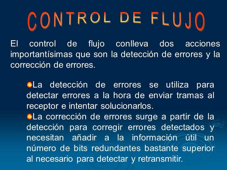 CONTROL DE FLUJO El control de flujo conlleva dos acciones importantísimas que son la detección de errores y la corrección de errores.