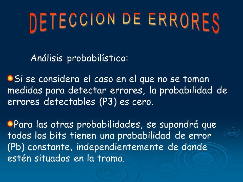 DETECCION DE ERRORES Análisis probabilístico: