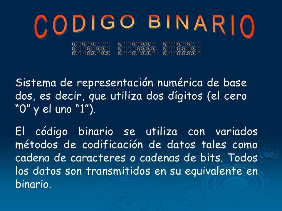 CODIGO BINARIOSistema de representación numérica de base dos, es decir, que utiliza dos dígitos (el cero 0 y el uno 1 ).