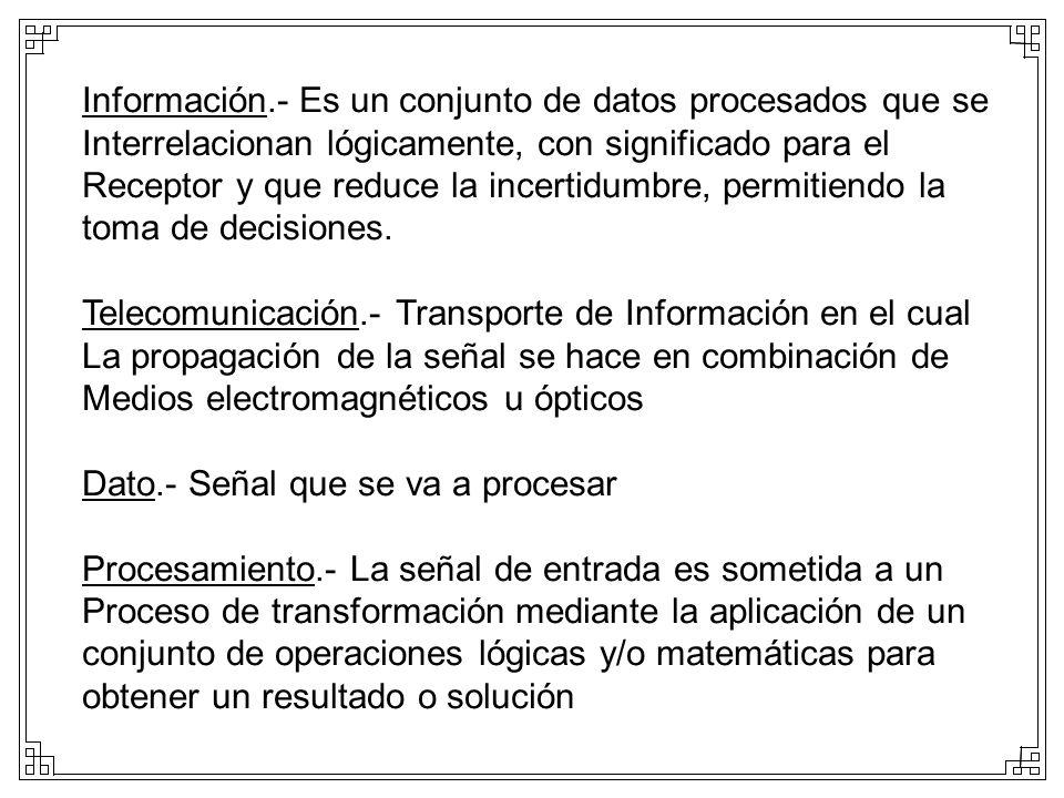 Información.- Es un conjunto de datos procesados que se