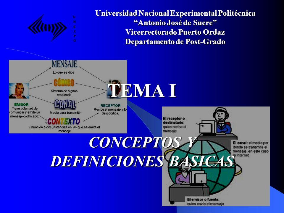 TEMA I CONCEPTOS Y DEFINICIONES BASICAS