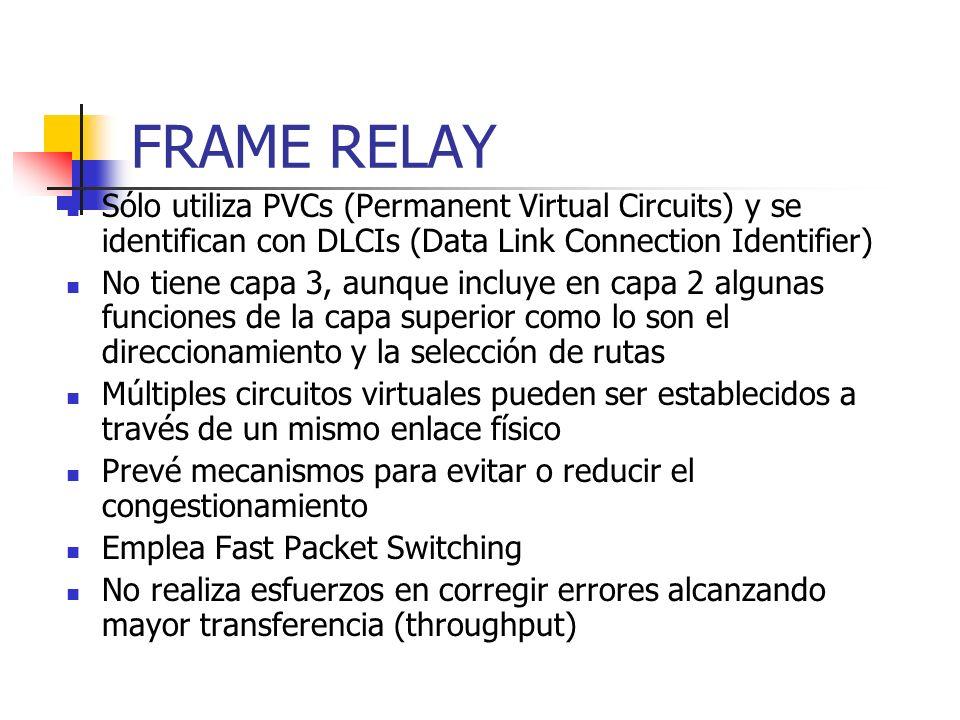 FRAME RELAY Sólo utiliza PVCs (Permanent Virtual Circuits) y se identifican con DLCIs (Data Link Connection Identifier)