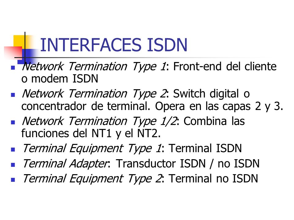INTERFACES ISDNNetwork Termination Type 1: Front-end del cliente o modem ISDN.