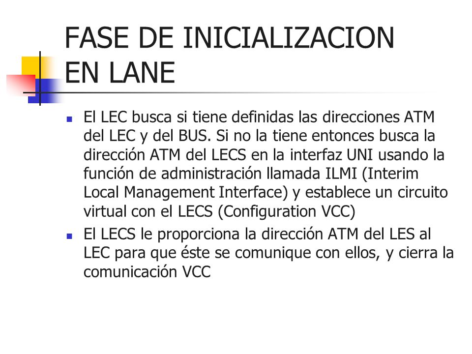 FASE DE INICIALIZACION EN LANE