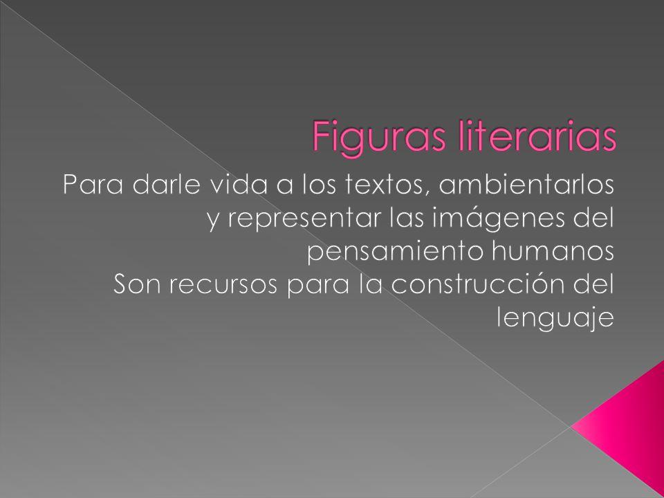 Figuras literarias Para darle vida a los textos, ambientarlos y representar las imágenes del pensamiento humanos.
