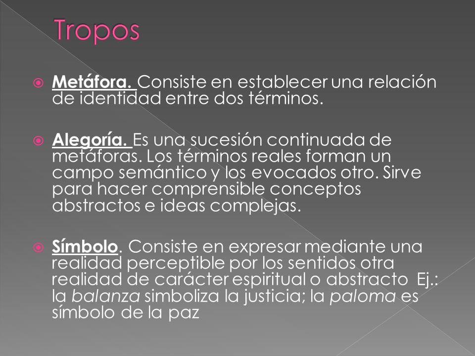 Tropos Metáfora. Consiste en establecer una relación de identidad entre dos términos.