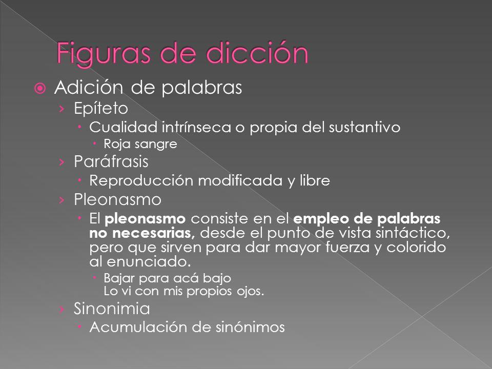 Figuras de dicción Adición de palabras Epíteto Paráfrasis Pleonasmo