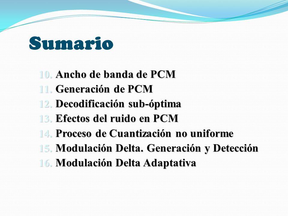 Sumario Ancho de banda de PCM Generación de PCM