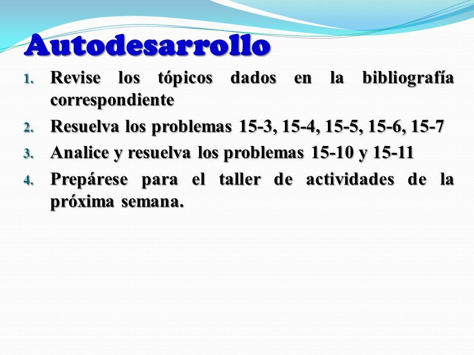 Autodesarrollo Revise los tópicos dados en la bibliografía correspondiente. Resuelva los problemas 15-3, 15-4, 15-5, 15-6, 15-7.