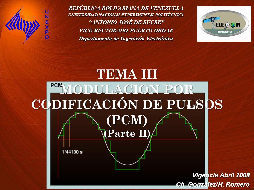 TEMA III MODULACION POR CODIFICACIÓN DE PULSOS (PCM) (Parte II)