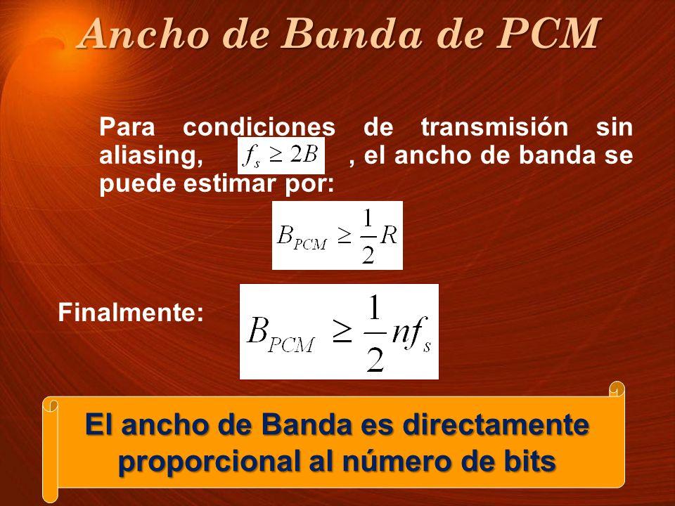 El ancho de Banda es directamente proporcional al número de bits