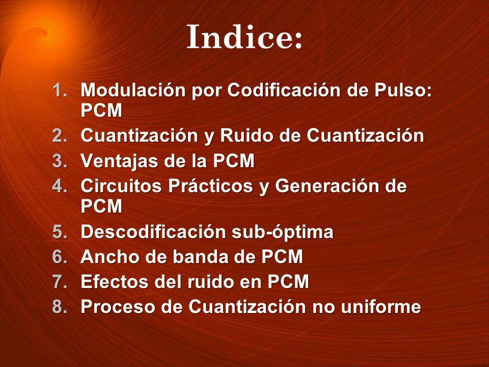 Indice: Modulación por Codificación de Pulso: PCM