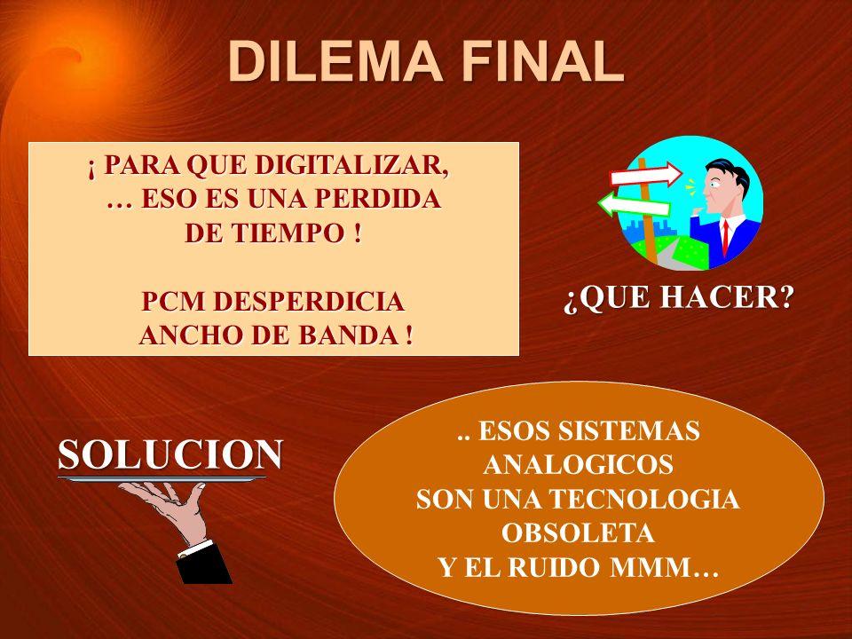 DILEMA FINAL SOLUCION ¿QUE HACER ¡ PARA QUE DIGITALIZAR,