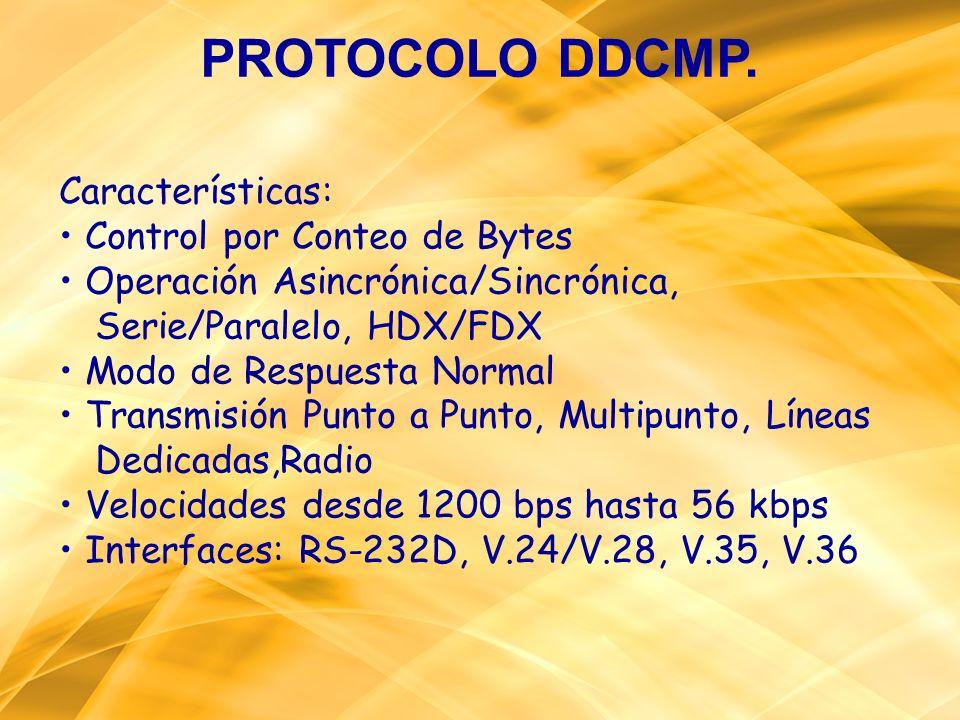 PROTOCOLO DDCMP. Características: • Control por Conteo de Bytes