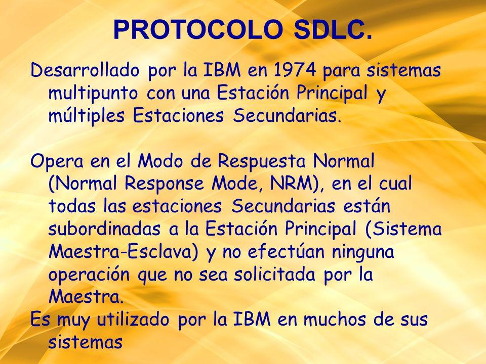 PROTOCOLO SDLC.Desarrollado por la IBM en 1974 para sistemas multipunto con una Estación Principal y múltiples Estaciones Secundarias.