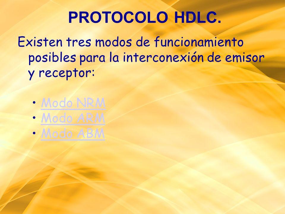 PROTOCOLO HDLC.Existen tres modos de funcionamiento posibles para la interconexión de emisor y receptor: