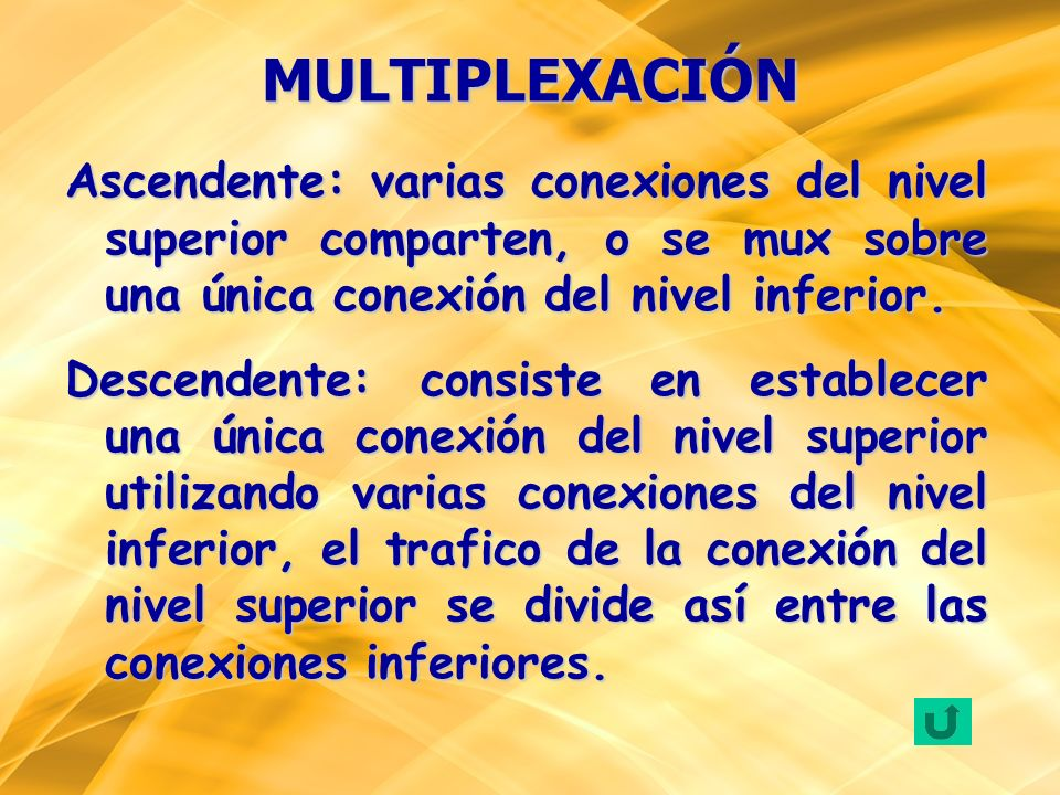 MULTIPLEXACIÓNAscendente: varias conexiones del nivel superior comparten, o se mux sobre una única conexión del nivel inferior.