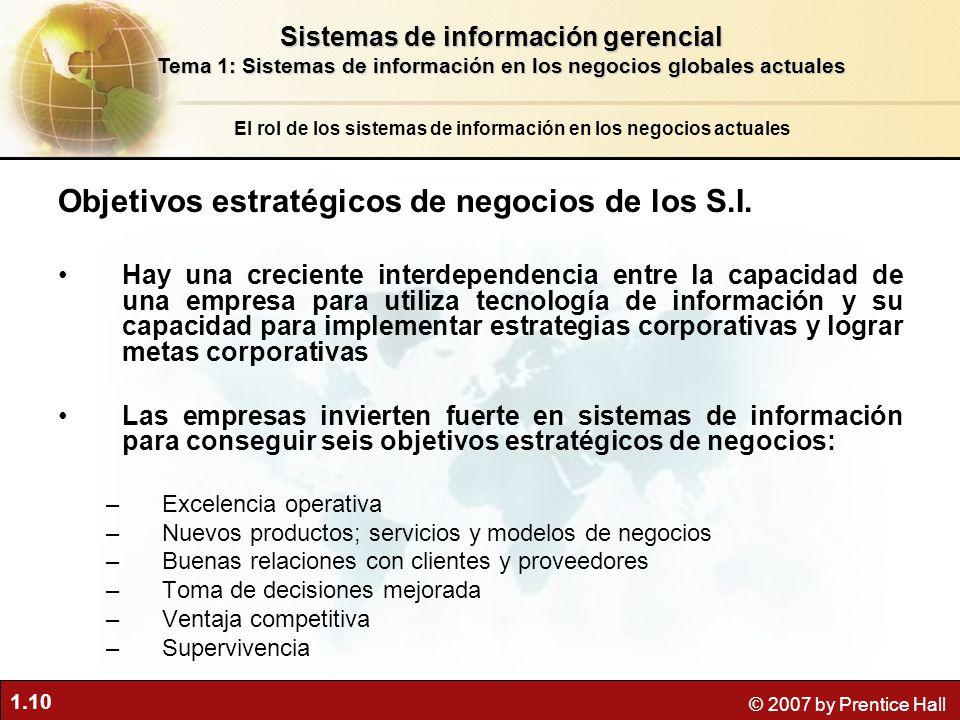 Objetivos estratégicos de negocios de los S.I.