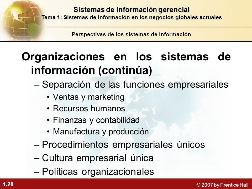 Organizaciones en los sistemas de información (continúa)