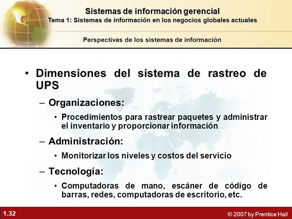 Dimensiones del sistema de rastreo de UPS