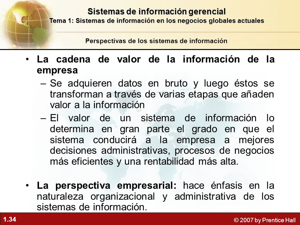 La cadena de valor de la información de la empresa