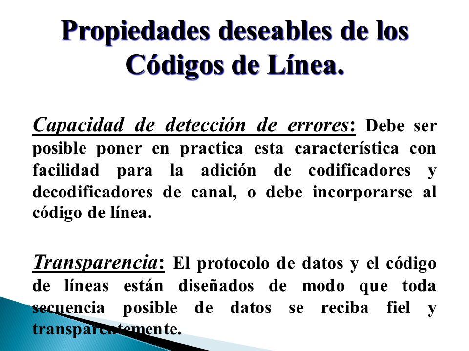 Propiedades deseables de los Códigos de Línea.