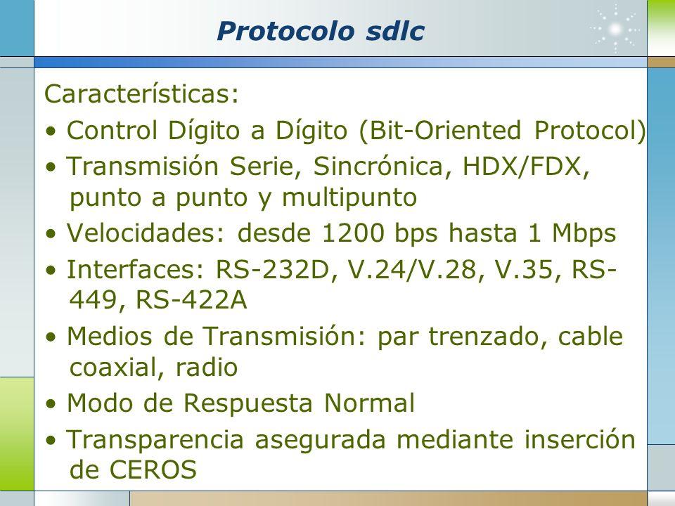 Protocolo sdlc Características: