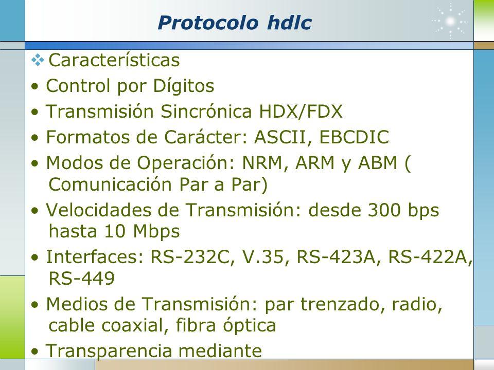 Protocolo hdlc Características • Control por Dígitos
