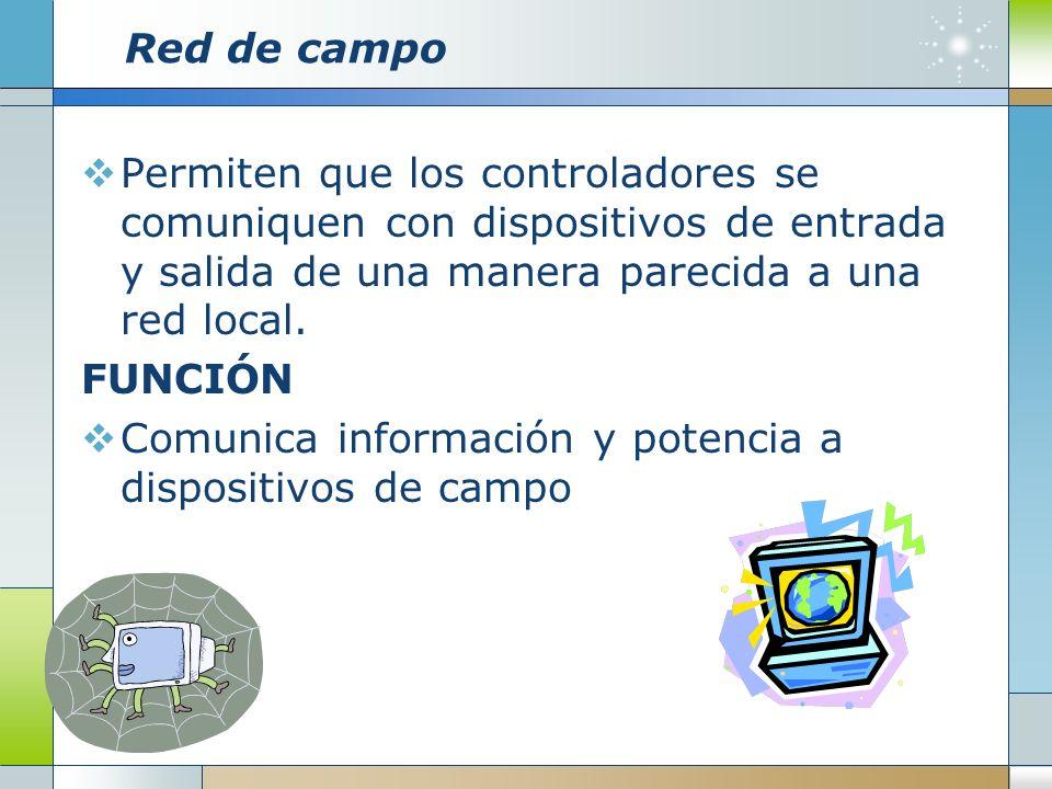 Red de campoPermiten que los controladores se comuniquen con dispositivos de entrada y salida de una manera parecida a una red local.