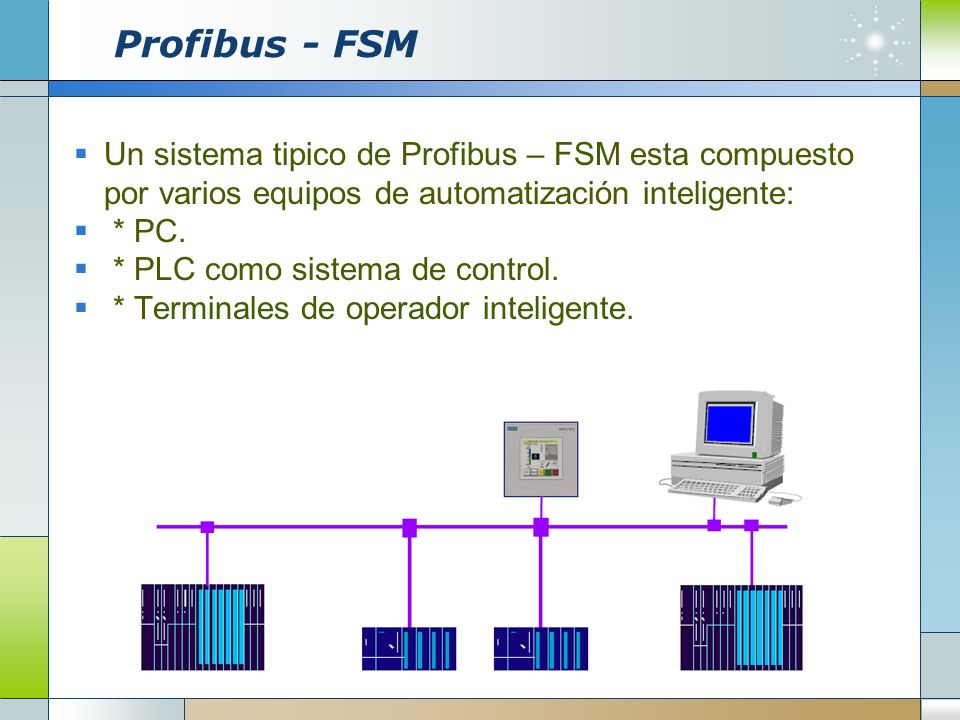 Profibus - FSM Un sistema tipico de Profibus – FSM esta compuesto por varios equipos de automatización inteligente: