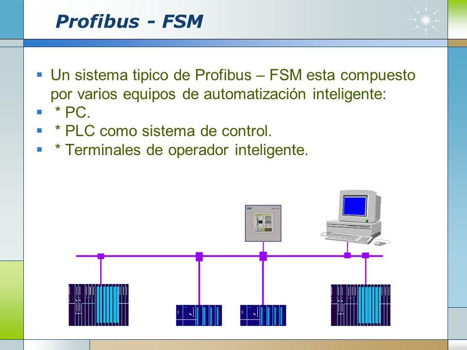 Profibus - FSMUn sistema tipico de Profibus – FSM esta compuesto por varios equipos de automatización inteligente: