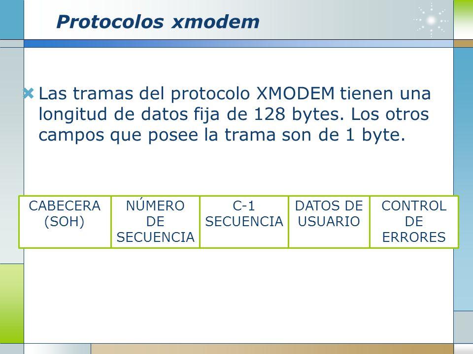 Protocolos xmodemLas tramas del protocolo XMODEM tienen una longitud de datos fija de 128 bytes. Los otros campos que posee la trama son de 1 byte.