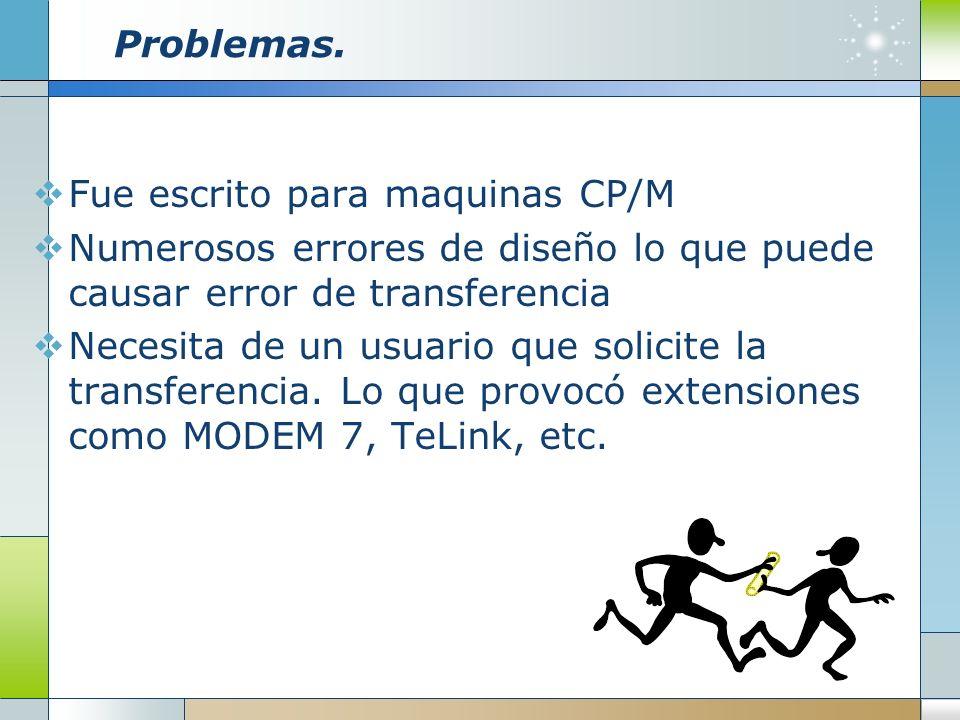 Problemas.Fue escrito para maquinas CP/M. Numerosos errores de diseño lo que puede causar error de transferencia.