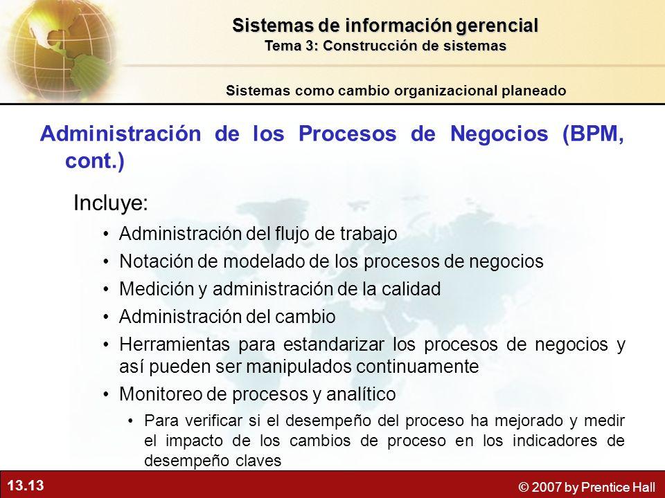 Administración de los Procesos de Negocios (BPM, cont.)