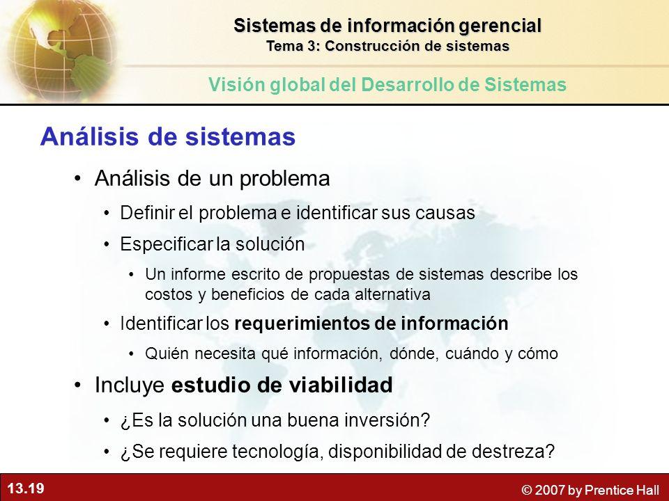 Análisis de sistemas Análisis de un problema
