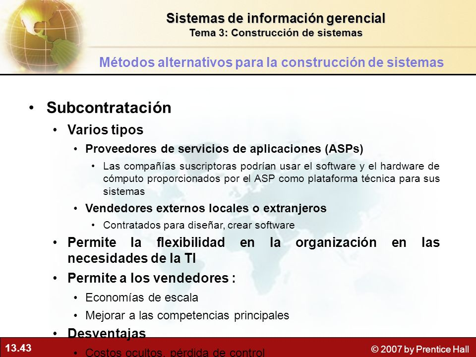 Subcontratación Sistemas de información gerencial