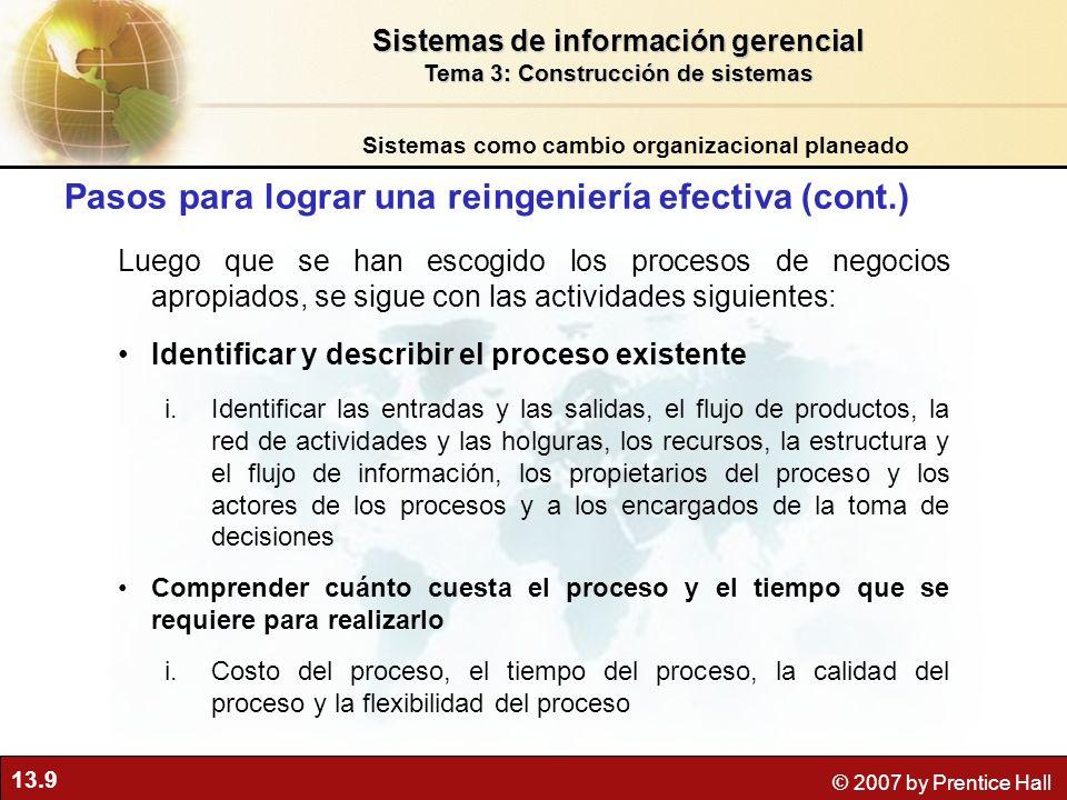 Pasos para lograr una reingeniería efectiva (cont.)