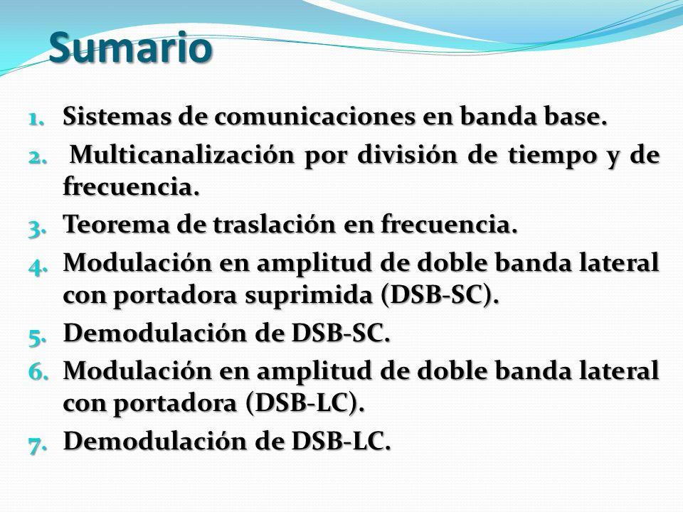 Sumario Sistemas de comunicaciones en banda base.