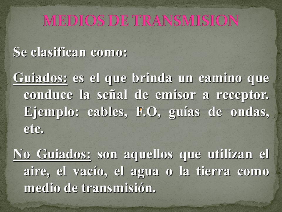 MEDIOS DE TRANSMISION Se clasifican como: